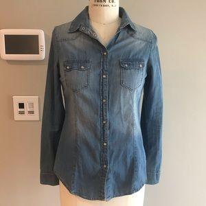 Bershka denim button down shirt w/ western details
